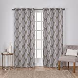 Exclusive Home Queensland Printed Medallion Sateen Woven Window Curtain Panel Pair with Grommet Top, 52×108, Taupe, 2 Piece