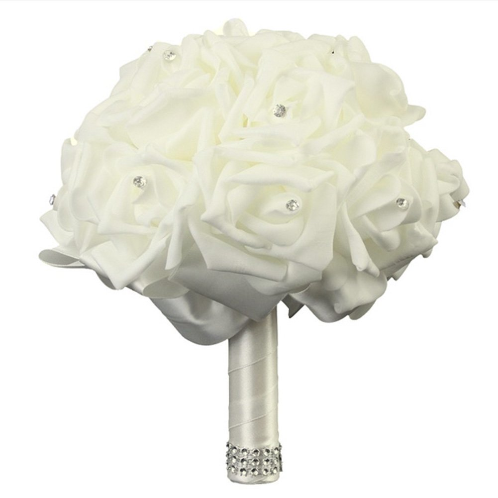 FAVOLOOK Wedding Bouquets Crystal Pearl Silk Roses Bridal Bridesmaid Wedding Hand Bouquet Artificial Fake Flowers(Beige,Large)