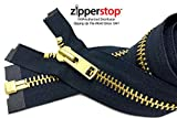 Zipperstop Wholesale YKK®- Extra Heavy Duty Jacket Zipper YKK® #10 Brass- Metal Teeth Separating -Chaps Zippers for Crafter's Special Color Navy #560 Made in USA -Custom Length (12 inches)