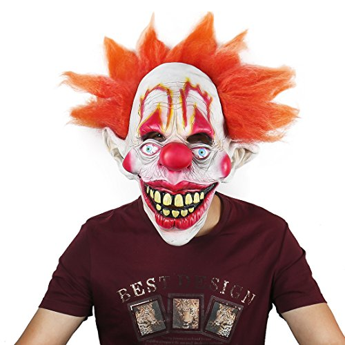 Twisty The Clown Girl Costume (Deluxe Novelty Clown Mask Circus Scary Killer Halloween Horror Latex Full Head Fancy Dress Mask)