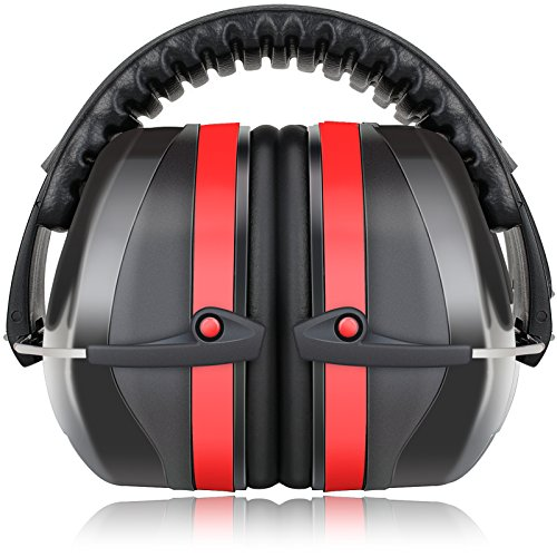 Fnova 34dB Highest NRR Safety Ear Muffs - Professional Ear Defenders for Shooting, Adjustable Headband Ear Protection / Shooting Hearing Protector Earmuffs Fits Adults to Kids (Red) (Shooters Ear Protection compare prices)