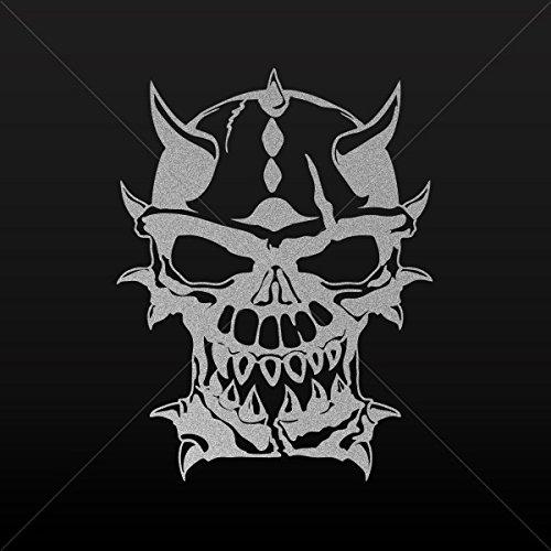 Stickers Decal Skull Satan Decor Motorbike Bicycle Vehicle ATV Racing Silver-Matte (16 X 12.2 In)