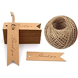 G2PLUS Kraft Paper Gift Tags, 100PCS Wedding Tags,Brown Heart Shaped Tags,Hang Tag Bonbonniere Favor Gift Tag with Jute Twine 30 Meters Long for DIY Crafts & Price Tags