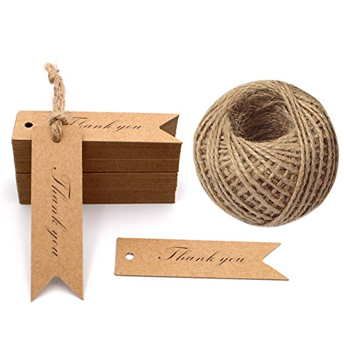 (G2PLUS Kraft Paper Gift Tags, 100PCS Wedding Tags,Brown Heart Shaped Tags,Hang Tag Bonbonniere Favor Gift Tag with Jute Twine 30 Meters Long for DIY Crafts & Price Tags)