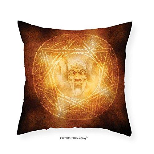 VROSELV Custom Cotton Linen Pillowcase Horror House Decor Demon Trap Symbol Logo Ceremony Creepy Ritual Fantasy Paranormal Design for Bedroom Living Room Dorm Orange 14''x14 by VROSELV