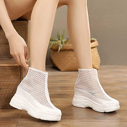 KPHY Women's shoes/new/Gauze Short Boots Summer Medium Heel Martin Boots 10Cm Joker Round Head Breathable Short Tube Cool Boots. White
