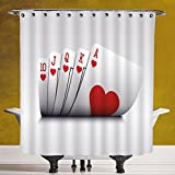 Decorative Shower Curtain 3.0 by SCOCICI [ Poker Tournament Decorations,Royal Flush Playing Cards Hearts Betting Bluff Gambling Decorative,Red and White ] Waterproof Polyester Fabric Decorative Bath C