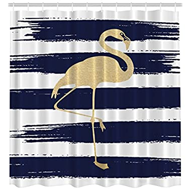 Ambesonne Exotic Birds Animals Art Decor Collection, Sweet Golden Flamingo Design with Stripes Creativity Style Modern Bathroom Fabric Shower Curtain Exclusive to Pinklim 69x70 Inches Navy White Gold