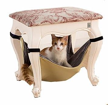 OWIKAR Hamaca de gato de terciopelo interior ajustable bajo sillas mesa gato colgante cama suave cuna jaula colgante hamaca para gatos/animales pequeños: ...