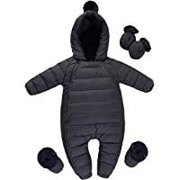 famuka Baby Winter Warm Down Snowsuits for Boys Girls Solid Color Hooded Outerwear Puffer