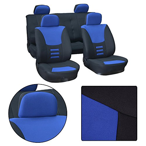 (OCPTY Car Seat Cover, Stretchy Universal Seat Cushion w/Headrest 100% Breathable Automotive Accessories Durable Washable Polyester for Most Cars(Black/Blue))