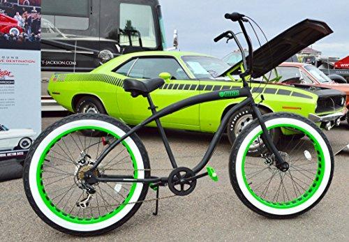 Ape Hanger Cruiser - Sikk Fat Tire Beach Cruiser Bicycle 7 Speed Flat Black Green Wheels Whitewall