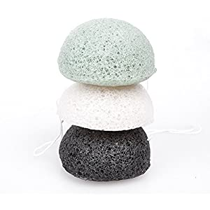 Konjac Sponge Set Of 3 Exfoliating Facial Sponges-Natural Cleaning Sponge-White-Activated Bamboo Charcoal-Green-Vegan-Better Than Loofah For Cleansing Face From Xfacio Labs