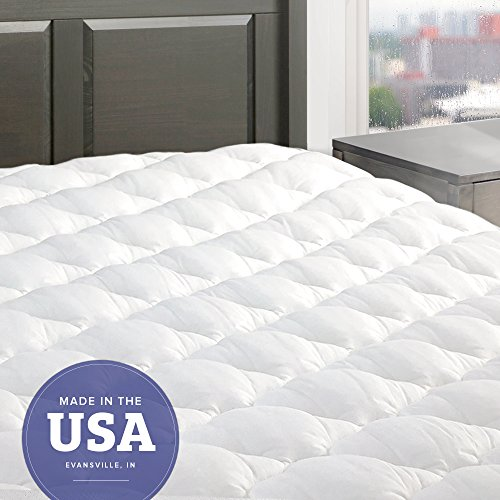 eLuxurySupply Five Star Mattress Pad with Fitted Skirt - Hypoallergenic Mattress Cover Made in the USA, Queen