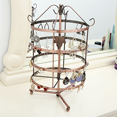 4 Tier Bronze Tone Metal Rotating Jewelry Rack / Earring Organizer w/ Necklace & Bracelet Hooks