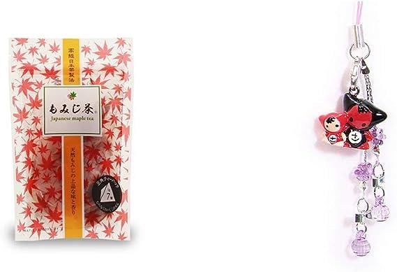 [2点セット] もみじ茶(7パック入)・さるぼぼペアビーズストラップ 【紫】/縁結び・魔除け//