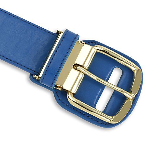 Premium Baseball and Softball Belt with Gold Colored Belt Buckle - Wear The Gold Buckle Belt Like The Major Leaguers Wear - Adult, Blue (Waist sizes 33 - 44 in)