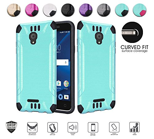 Alcatel idealXcite Case (Xcite Version Only), Alcatel CameoX case, Heavy Duty Metallic Brushed Slim Hybrid Shock Proof Dual Layer Armor Defender Protective Phone Case Cover Accessories (Teal/Black)