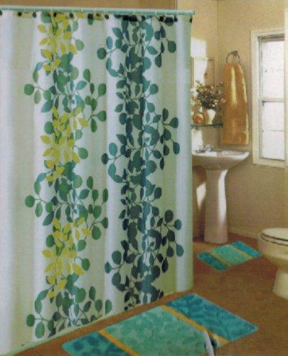 NEW 15PC BLUE FLORAL BATHROOM BATH MATS SET RUG CARPET SHOWER (Pottery Barn Floral Shower Curtain)