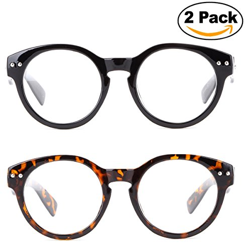 Newbee Fashion - Vintage Retro Round Clear Lens Fashion Glasses Thick Quality - Shell Clear Glasses Tortoise