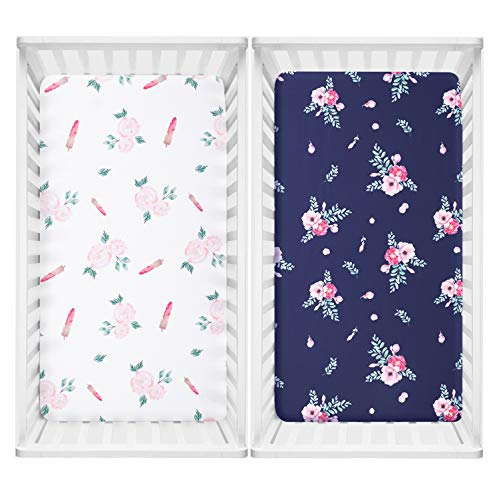 TILLYOU Microfiber Floral Crib Sheet for Girls, Silky Soft Flower Toddler Sheets Printed, Breathable Cozy Baby Sheets for Standard Crib and Toddler Mattress, 28