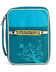 Turquoise Lord Bless You 8 x 11 inch Reinforced Polyester Bible Cover Case with Handle