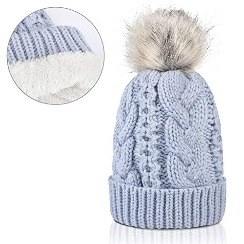 Winter Thick Cable Knit Faux Fuzzy Fur Pom Pom Sherpa Lined Skull Ski Cap Cuff Beanie Blue