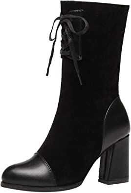 Hiver Ankle Bottes à Lacets Femme CompenséEs en Daim
