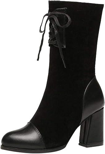 OSYARD Bottes Chaussures Femmes Automne Hiver Bottes Cuir de