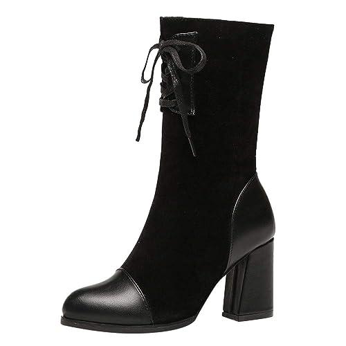 Botines Martin Botas de tacón Alto para Mujer Botas de Cordones con Punta Redonda: Amazon.es: Zapatos y complementos