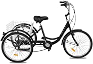 Happibuy Adult Tricycle 1 Speed 7 Speed Size Cruise Bike 20 Inch Adjustable Trike with Bell, Brake System Crui