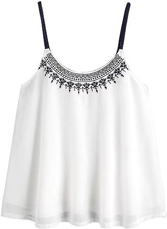 Chaleco Sexy Mujer Blusas sin Mangas Camisetas para Mujer Blusa Bordada de Gasa Cami Tops de Verano Camisa Ropa de Playa (Blanco, S): Amazon.es: Hogar