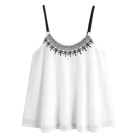 Chaleco sexy mujer ❤ Amlaiworld Blusas sin mangas Camisetas para mujer Blusa bordada de gasa