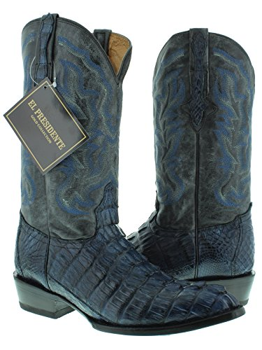 El Presidente - Men's Denim Blue Genuine Crocodile Tail Leather Cowboy Boots J Toe 13.5 E