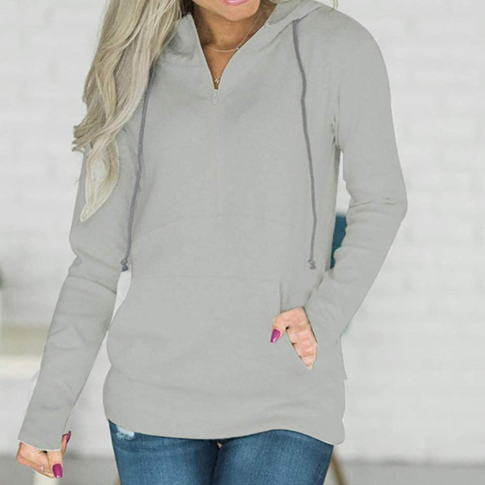 Ularma Women s Hoodies Zip Up Pullover Tops Casual Hooded Sweatshirt Loose Sweater Cardigan Plus Size Pocket Fall Clothes