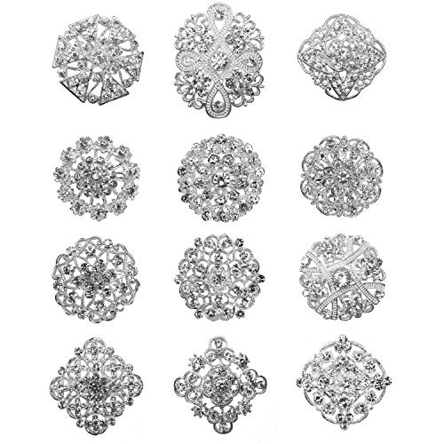 12px Silver Plated Crystals Brooches Floriated Brooch Collar Pin Rhinestone Flower Corsage Bouquet Decor by ZAKI