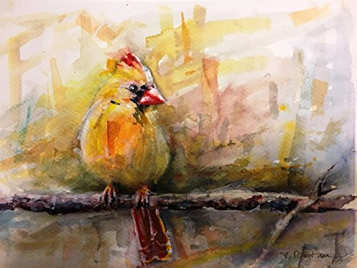"Original/Print of the Watercolor Painting ""Yellow Northern Cardinal"" on Quality Artistic Paper. Birds. Wall decor. Office Decor. Gift Idea. ACEO size available."