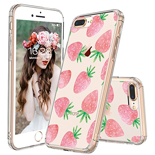iPhone 7 Plus Case, iPhone 8 Plus Case Clear, MOSNOVO Cute Strawberry Pattern Clear Design Printed Plastic Case with TPU Bumper Protective Case Cover for iPhone 7 Plus (2016) / - Case Cell Phone Strawberry