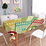 PINAFORE HOME Oblonge Table Cloth for Kitchen Tables Vintage Bingo Game with Ball and CardsPop Stylized Lottery Hobby Celebration Themees Multi Table Cover for Dining Room and Party/W52 x L70 Inch