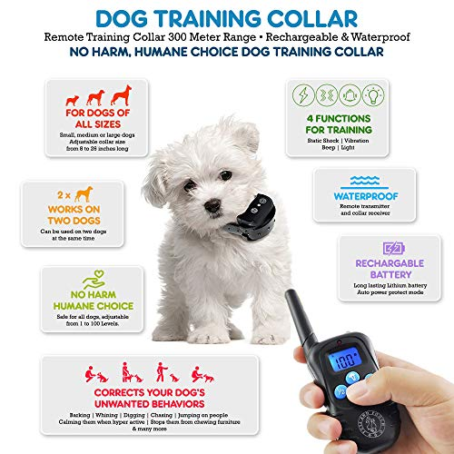 Puss and Pooch Dog Training Collar - Dog Remote Training Collar 300 Meter Range Static Shock Collar w/Humane Vibration & Beep Option