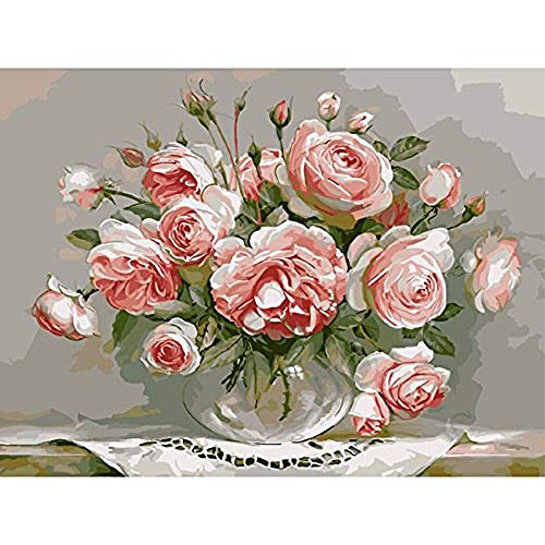 Paint by Number Kits - Pink Flowers 16x20 inch Linen Canvas Paintworks - Digital Oil Painting Canvas Kits for Adults Children Kids Decorations Gifts (No Frame)