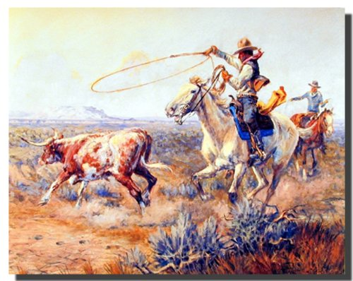 Western Wall Decor Rodeo Cowboys Roping Texas Longhorn Cow Picture Art Print Poster (16x20) ()