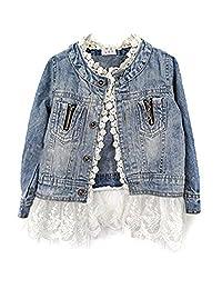 Girls/kids Fashion Jean Jacket,Denim Jeans Lace Outwear Jacket Cowboy Overcoat