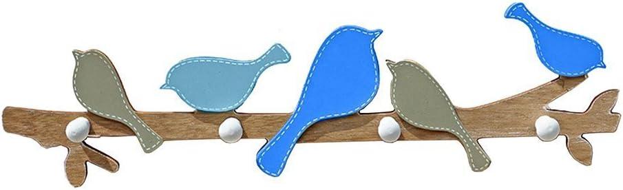 gossipboy dise/ño de p/ájaros de madera pared gancho para colgar abrigos ropa percha de pared creativo decoraci/ón colgante de pared con 4/ganchos