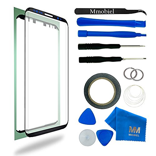 MMOBIEL Front Glass for Samsung Galaxy S8 G950 Series 5.8 Inch (Black) Display incl 12 pcs Tool Kit / Pre-cut Sticker / Tweezers/ Roll of Adhesive Tape / Suction Cup / Metal Wire / cleaning cloth