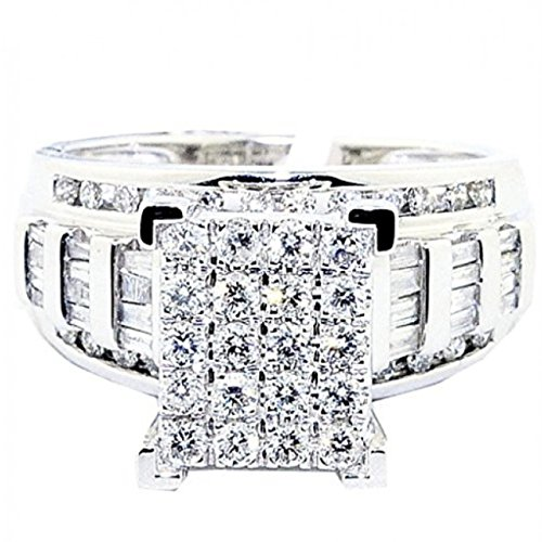 Midwest Jewellery Diamond Wedding Ring 3 in 1 Style Engagement & Bands White Gold 7/8ctw (i2/i3, I/j) - Rectangular Diamond Set