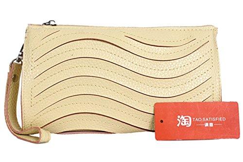 Bolso de embrague - SODIAL(R) Bolso de embrague de cuero de PU de moda de color de caramelo monedero bolsa pequena de mensajero de hombro de color beis