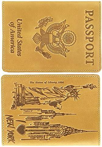 Shvigel Passport Cover Leather Holder - Statue of Liberty 'Love America' Collection - for Men & Women - Travel Document Case (Light Yellow (Blackberry Passport Clip)