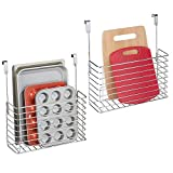 mDesign Metal Over Cabinet Kitchen Storage Organizer Holder or Basket - Hang Over Cabinet Doors in Kitchen/Pantry - Holds Bakeware, Cookbook, Cleaning Supplies - 2 Pack - Chrome