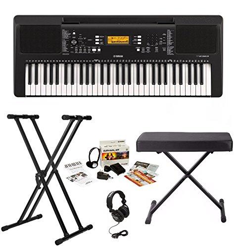 Yamaha PSRE363 Keyboard with Survivalkit, Headphones, Knox Stand and Bench (Yamaha Keyboard 61 Keys)